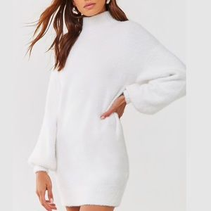 White turtle neck sweater dress